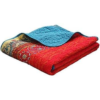Exclusivo Mezcla Luxury Reversible 100% Cotton Paisley Boho Stripe Quilted Throw Blanket 60