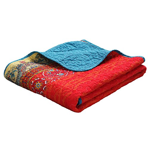 Exclusivo Mezcla Luxury Reversible 100% Cotton Paisley Boho Stripe Quilted Throw Blanket 60