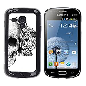 Shell-Star Arte & diseño plástico duro Fundas Cover Cubre Hard Case Cover para Samsung Galaxy S Duos / S7562 ( Rose White Black Skull Death Flower )