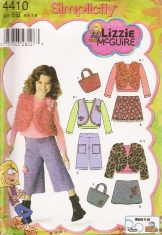 SIMPLICITY 4410 BB Lizzie McGuire (size 5,6,7,8) Mini Skirt, Cropped Pants, Lined Vest, Jacket, Bag, & Knit Top ~ SEWING PATTERN (Vest Lined Sewing)