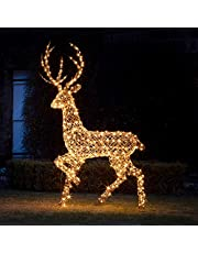 Lights4fun LED rotan hert 2 m timer op stroom buiten