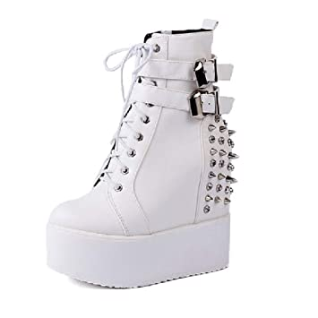 c3ed7382 SHANGWU Plataforma Invisible de tacón Alto para Mujer Zapatos Deportivos  Plataforma Impermeable Zapatos para Mujer Zapatos con cuña Punk Botines  Botines con ...