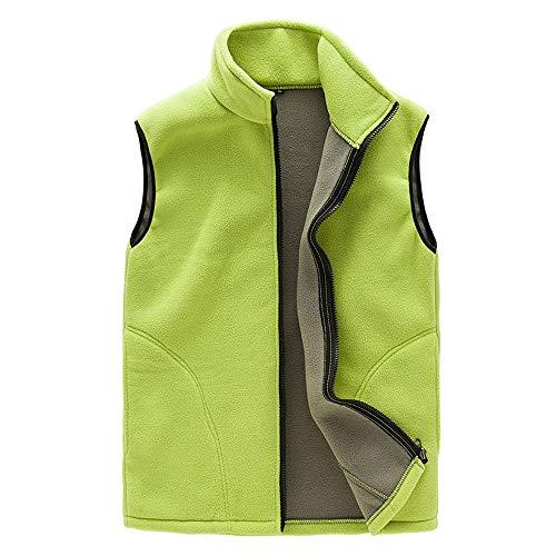 Manteaux Coulpe Manches Bodywarmer Outdoor femme Randonnée Yuyoug En Unisexe Homme Full Sans Femme Green Gilet Light Manteau Doux Confort Chaud Polaire Veste Zip rwrnSTx
