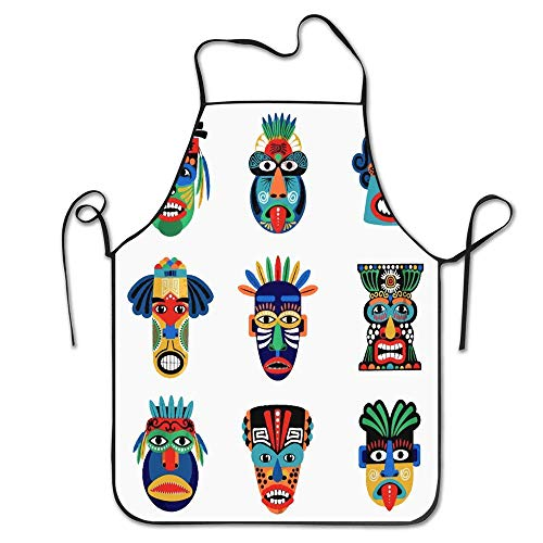 Jackie Prout ss African Zulu Aztec Mask Mexican Indian Inca Warrior White Tiki Totem Cooking Kitchen Restaurant Bar Apron Chic Apron Chef Apron Unisex Apron ()