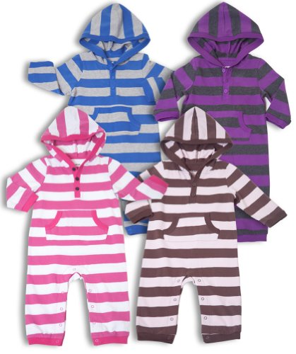 "Leveret ""Striped"" Hooded One Piece Romper 100% Cotton (Size 3-24 Months)"
