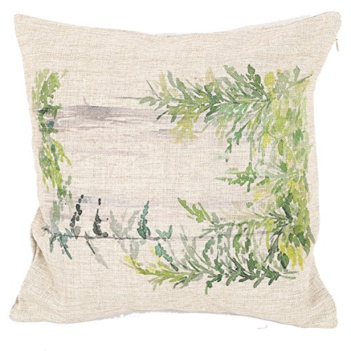 """Price comparison product image Prettypillow Home Decor Cotton Linen Square Pillowcase Watercolor Green Spring Branch Printed Throw Pillow Sham Cushion Cover 18"""" x 18"""""""
