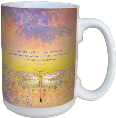 Dragonfly What Lies Behind Coffee Mug - Large 15-Ounce Ceramic Cup - Dragonflies Themed, Gift for Nature Lovers - Tree-Free Greetings 79064