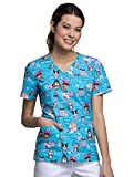 Cherokee Fashion Prints by Women's Mock Wrap Animal Print Scrub Top Large Print