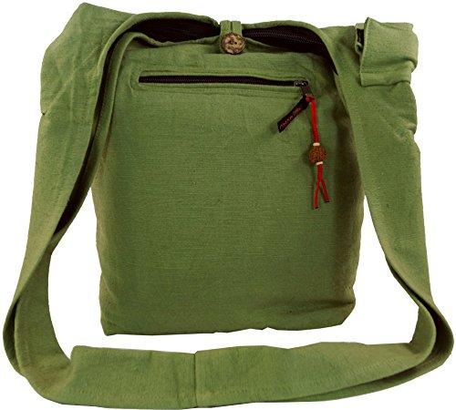 Guru-Shop Sac Sadhu, Goa, sac à Bandoulière - Vert, Mixte Adulte, Coton, 40x35x25 cm, Sac Sadhu, sac Hippie Vert