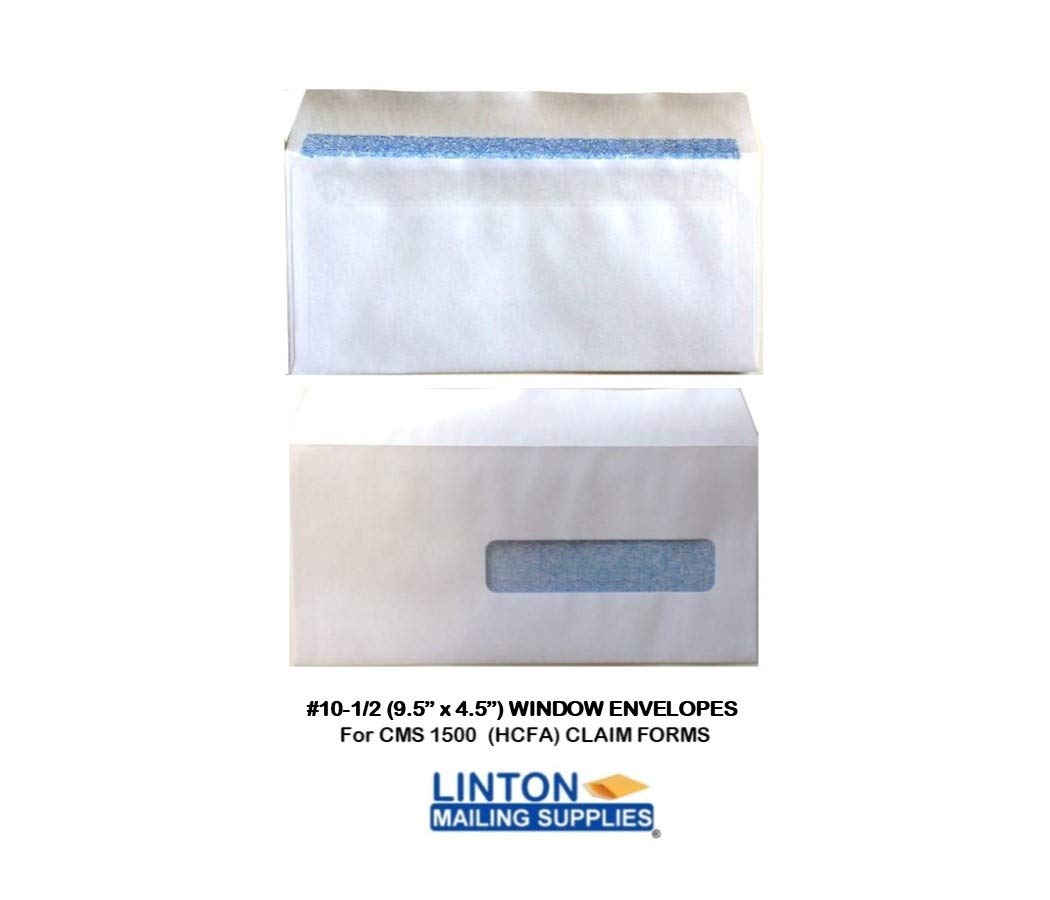 4.5 x 9.5 No 150 ENVELOPES CMS 1500 HCFA Insurance Claim Envelopes White Self-Seal with Window and Inside Security Tint 10.5