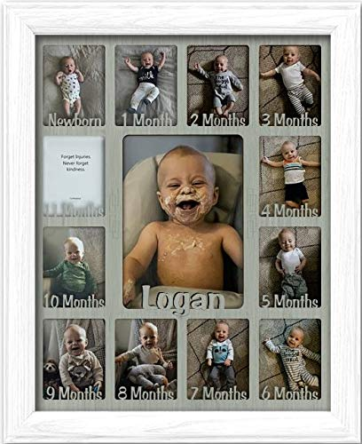 Northland Baby First Year Personalized Frame - Holds Twelve 2.5'' x 3.5'' Newborn Photos and 5'' x 7'' One Year Picture, White Frame, Light Gray Insert, Customizable with Any Name by Northland Frames