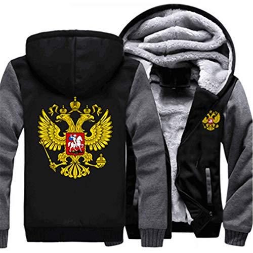- Fashion-Hoodies Russian Logo Coat Zipper Hoodie Winter Fleece Unisex Thicken Jacket Sweatshirts,XXX-Large,A,