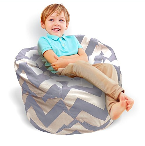 Stuffed Animal Storage Bean Bag Chair - 2 in 1! Stuffed Toy Storage + Kids Bean Bag! - Bright Color Zig Zag Bean Bag Toy Organizer