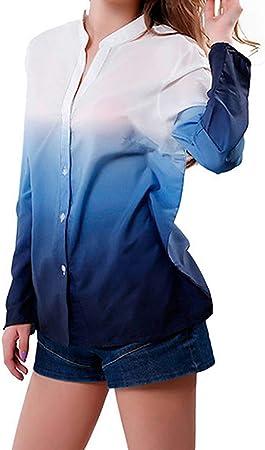 WODENINEK Camisa De Gasa Europea y Americana para Mujer Impresión En Color Degradado Ocio Camisa De Manga Larga Blusa,Blue,L: Amazon.es: Hogar