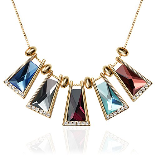 Trendy Silver Vintage Boho Teardrop Round Choker Chunky Statement Necklace Rhinestone Jewelry for Women&Girls By TAGOO (Crystal Colorful 17.72