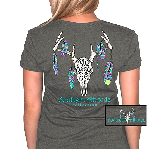 Southern Attitude Feather Deer Skull Dark Heather Country Hunting Short Sleeve Tee Shirt (Country Short Sleeve Tee)