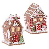 "RAZ Imports Set of Two - 5.5"" LED Lighted Gingerbread House - Christmas Village 3916189"
