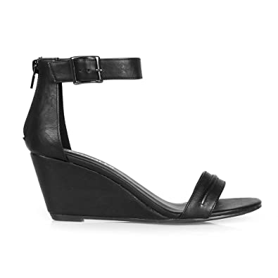d4690a561bc Hotsoles Gull Single Strap Women s Wedge Sandal in Black