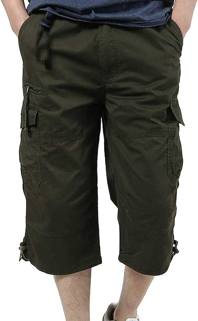 LANSKIRT_Pantalones Chandals Hombre Pantalones Cortos de Algodón ...