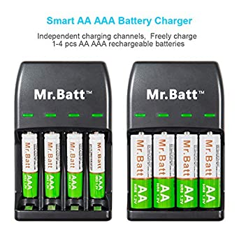 Amazon Com Mr Batt Rechargeable Aa Aaa Charger With 700mah High Capacity Aaa Rechargeable Batteries 4 Pack Industrial Scientific