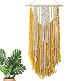 DOLDOA Handmade Macrame Woven Wall Hanging Tapestry,Chic Bohemian Home Decorative,Interior Wall Decor,Wall Art Woven Tapestry for Living Room,Bedroom,Apartment,Wedding Party (Yellow)