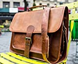 Shakun Leather Handmade Messenger Handmade Laptop Bag Single Strap Front With Side Pockets, NEW