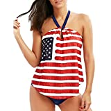 Muchy Clearence Womens 4th of July Swimsuit American Flag Bathing Suit Thin Two Piece Swimwear