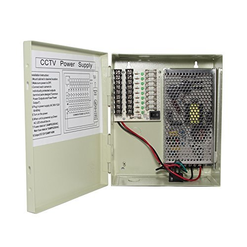 InstallerCCTV 9 Outputs 12 Amp 12V DC CCTV Distributed Power Supply Box for Security Camera, UL ()