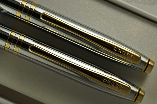 Cross Classic Executive Companion Avatar Medalist with 23KT Gold Appointment , Extremely Polished Chrome Barrel with Distinctive Gold Signature Mid Rings, Pen and 0.7mm Pencil Set by A.T. Cross