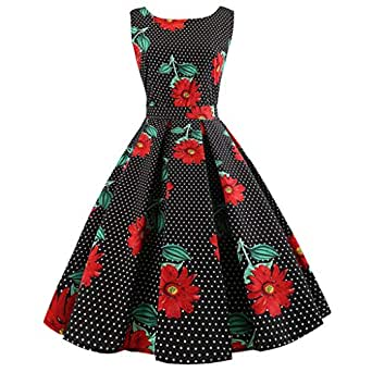 on Sale Black Formal Dresses for Women,Sexy Dresses for Women Plus Size for Sex,Women Sleeveless Floral Print Rockabilly Evening Party Dress Swing Dress