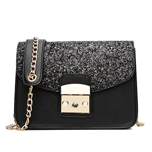 Bolso de Crossbody Bolso de lentejuelas de cadena de las mujeres pequeño paquete cuadrado bolsa de mensajero salvaje moda elegante Messenger bag (tamaño: 20 * 9 * 15 cm) ( Color : Blue ) Black