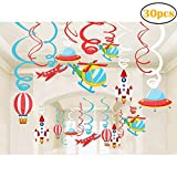 30Ct Colorful Airplanes Hanging Swirl Home Decorations for Outer Space Airplane Air Show Themed Birthday Baby Shower Party Supplies
