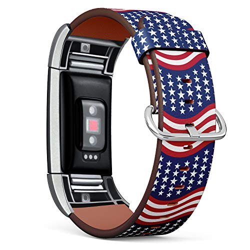 Replacement Leather Strap Printing Wristbands Compatible with Fitbit Charge 2 - Patriotic Stars and Stripes in Traditional American Colors