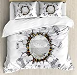 Volleyball Duvet Cover Set Queen Size by Lunarable, Ball Crushing the Wall Power Illustration Grunge Design Team Sports, Decorative 3 Piece Bedding Set with 2 Pillow Shams, White Redwood Yellow