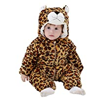 Cute Unisex Baby's Winter Flannel Pajamas Suit Animal Romper Onesie Outwear Sleepwear
