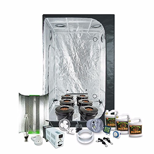 "HTGSupply 4.5 x 4.5 (55""x55""x79"") Grow Tent Kit Complete With 1000-Watt HPS Grow Light + DWC Hydroponic System & Advanced Nutrients"
