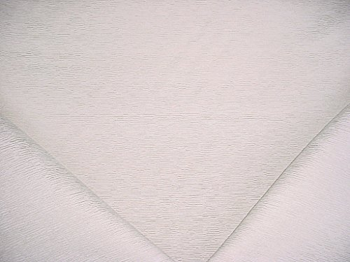 167H7 - Silver White Strands Rib Chenille Designer Upholstery Drapery Fabric - By the Yard - White Designer Fabric