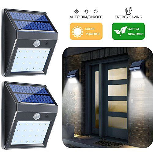 2-Pack Solar Lights Outdoor, Motion Sensor Flood Night Lights with Auto ON/OFF for Garage Patio Backyard Door Gates Landscape