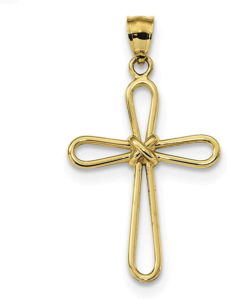 Lex /& Lu 14k Yellow Gold Polished Rounded Cross w//-X Center Pendant LAL102568