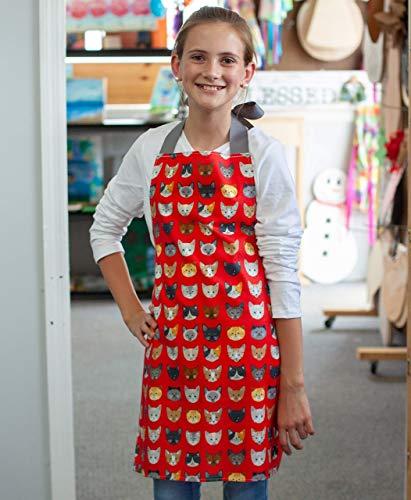 Tween Girl Red Cats Kitchen Art Craft Handmade Gift Apron from Sara Sews, Inc.