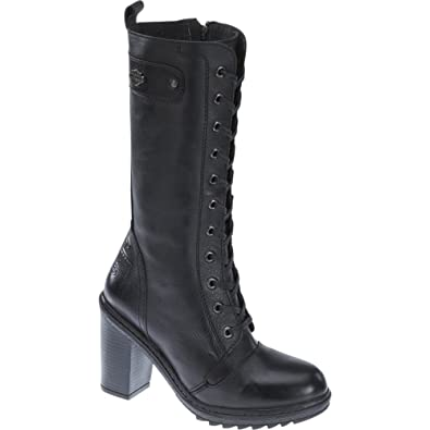 46ec03a6188a Harley Davidson LUNSDFORD Ladies Leather Tall High Heel Boots Black   Amazon.co.uk  Shoes   Bags