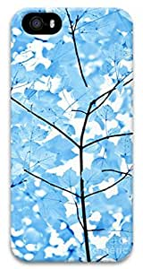 iCustomonline Blue Leaves Melody Designs 3D PC Case Back Cover for iPhone 5 5S