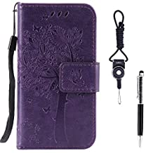 "Sony Xperia XA Case, SsHhUu Premium PU Leather Folio Wallet Magnetic Stand Card Slot Flip Protective Slim Cover Case + Stylus Pen + Lanyard for Sony Xperia XA F3113 (5.0"") Purple"