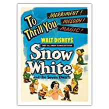 Walt Disney's Snow White and the Seven Dwarfs - To Thrill You Merriment! Melody! Magic! - Vintage Film Movie Poster c.1937 - Fine Art Print - 44in x 60in