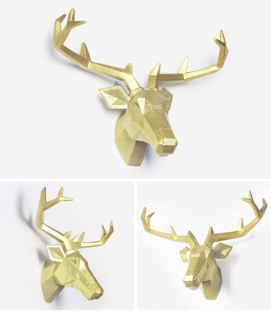 TJZY Wall Sculptures-Deer Head Wall Decoration Wall Mounted Woodland Deer Antlers Antler Male Simulation Resin Wall Hanging Animal Wildlife Home Decor Decoration Statue Ornament Modern