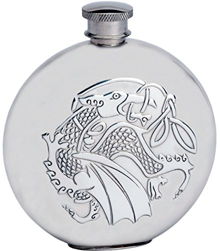 (6oz Round Pewter Flask With Embossed Kells Dragon Design Great Gift)