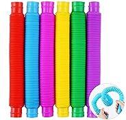6 Pack Pop Tube Sensory Toys,Stretch Tube for Kids Decompression, Pre-Kindergarten Finger Toys.(6 colors)