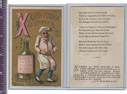 Victorian Card, 1890's, Sollers & Co. Chef & Bottle (Chefs Bottle)