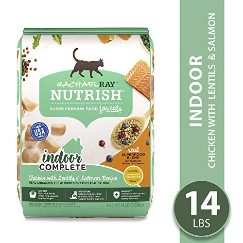 Rachael Ray Nutrish Indoor Complete Natural Premium Dry Cat Food, Chicken With Lentils & Salmon...