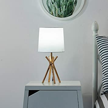 SEVETILKA Simple Style Golden Metal Base Living Room Bedroom Bedside Table Lamp,Table Lamps with White TC Fabric Lampshade